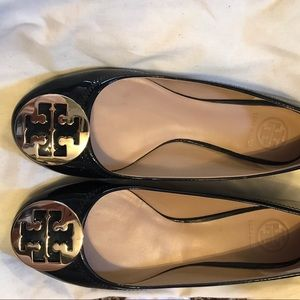 Tory Burch Shoes - Tory Burch Navy Patent Reva Flats